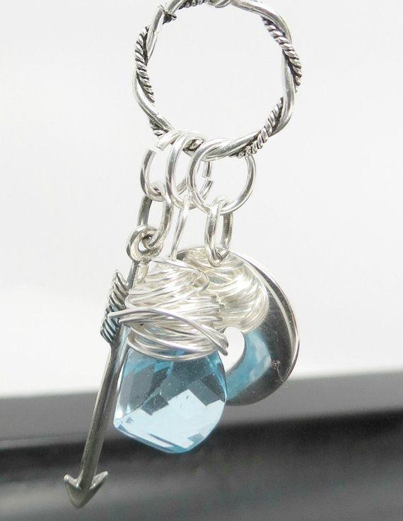 Heart Arrow Blue Topaz Wire Wrapped Briolette Drop by BlueSkyEyed, $100.00