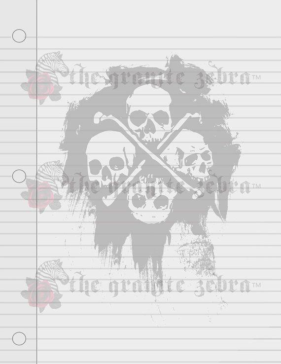 Grunge Skulls Lined Goth Stationery