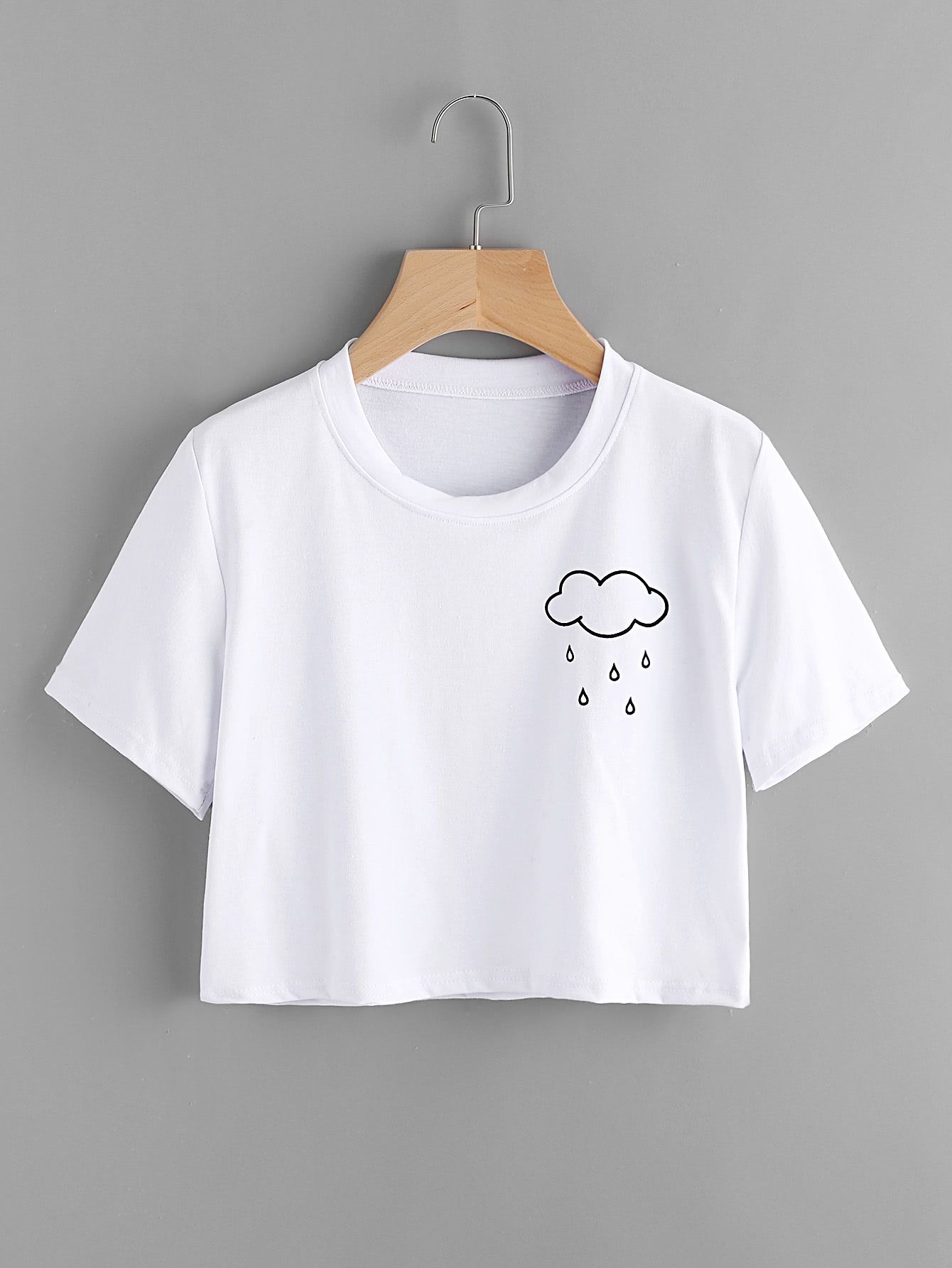2f8ff7140a Shop Cloud Print Tee online. SheIn offers Cloud Print Tee & more to fit  your fashionable needs.