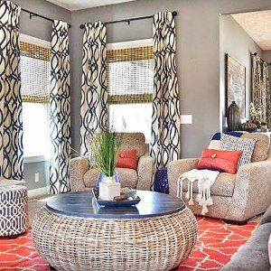 Emily Bergsten At The Style Gallery On Hayneedle Com Grey Walls Living Room Geometric Curtains Coastal Living Rooms