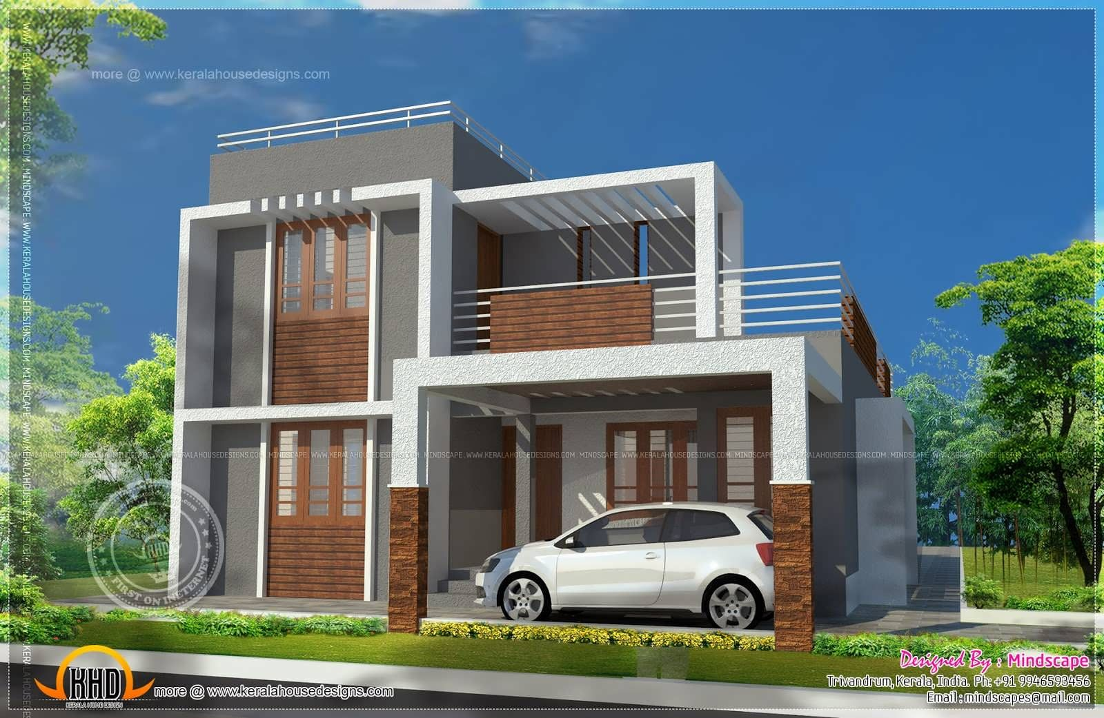 Awesome Small Double Storied Contemporary House Plan Indian Plans Home Design With  Luxury Building Home Gray Wall And Flat Roof With White Fence Also Wooden  Window ...