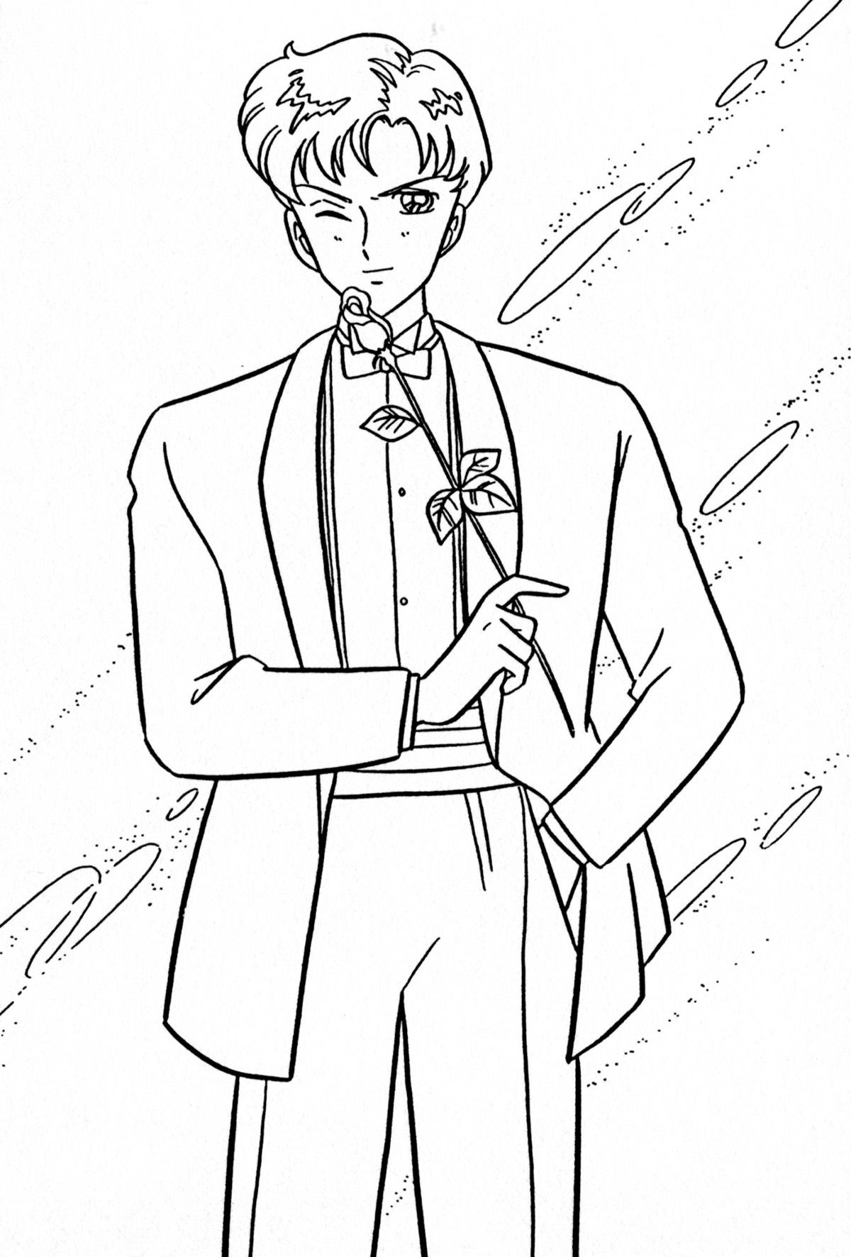 Sailor Moon Tuxedo Mask Coloring Pages Sketch Coloring Page