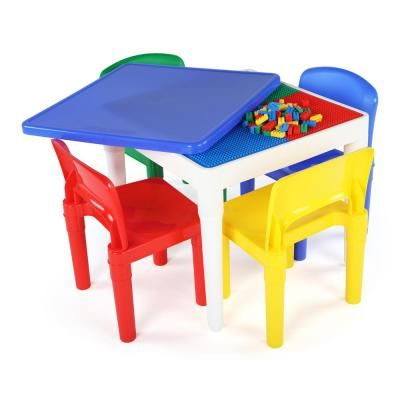 Tot Tutors Playtime 5 Piece 2 In 1 Plastic Lego Compatible Kids Activity Table And 4 Chairs Set Primary Table Chair Sets Kids Table Chairs Table Chairs