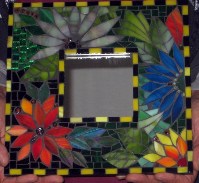 mosaic mirror or frame with flower pattern..beautiful and colourful!