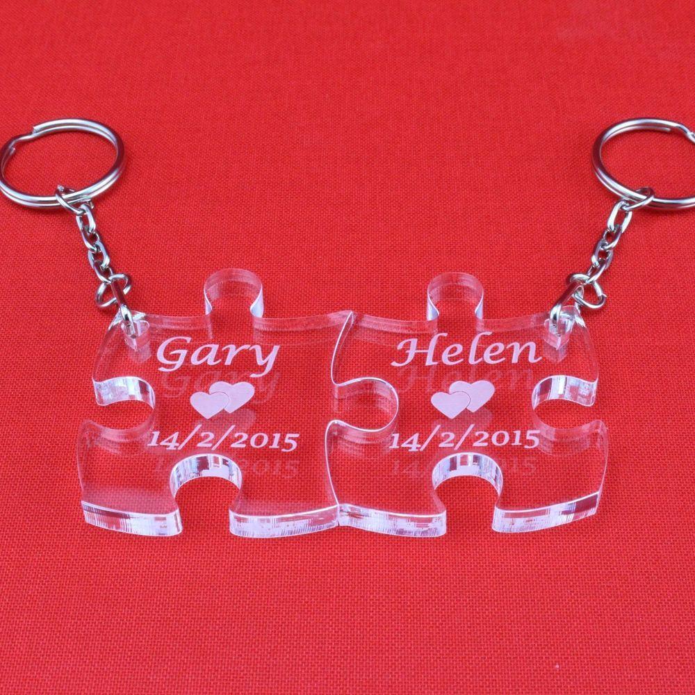 Personalised Keyring, Valentines Wedding Gift, Anniversary Present ...