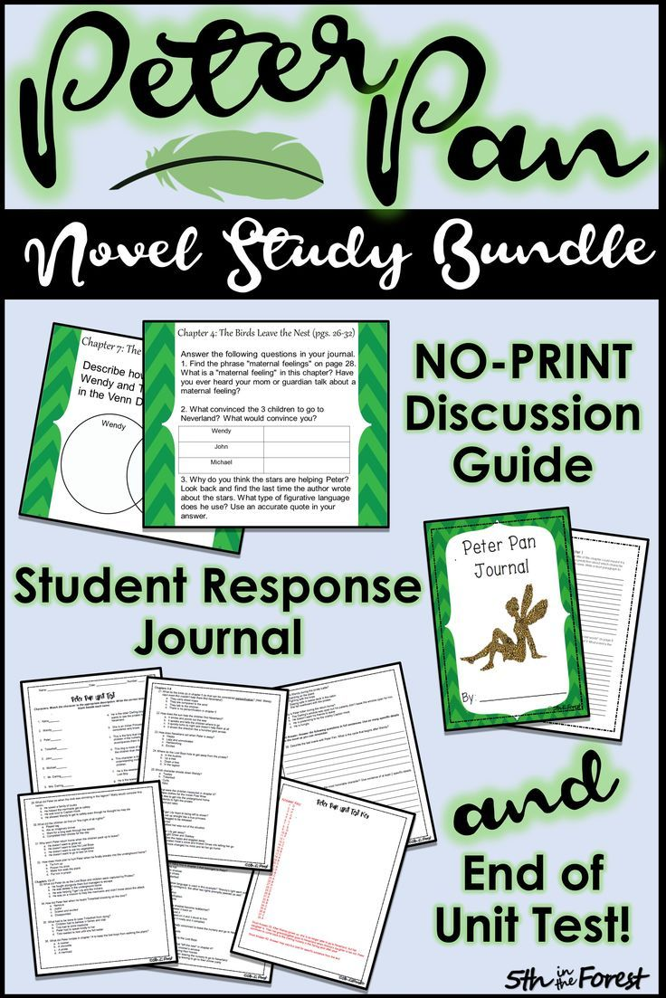 Peter Pan Novel Study BUNDLE for In-Person and Distance Learning   Novel  studies [ 1103 x 736 Pixel ]