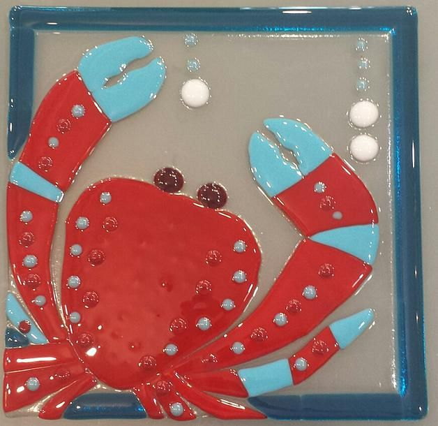 Crab Fused Glass
