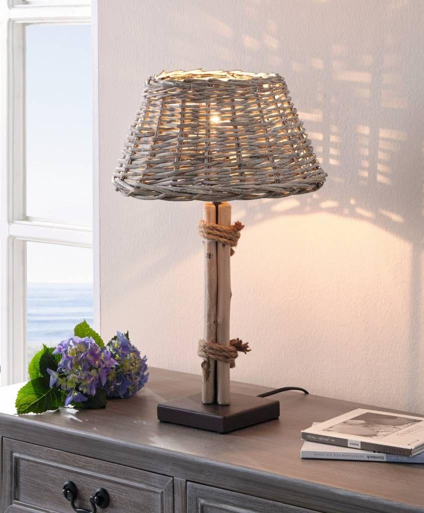 Maritime Lampe Aus Treibholz Lampenschirm Aus Grau Gekalkter Weide Fuss Aus Dunkelbraun Lackiertem Metall Stehlampe Lampe Lampentisch