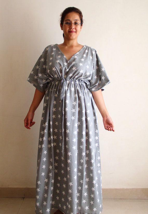 Grey star Nursing cotton gown / caftan by ADifferentWeave on Etsy ...