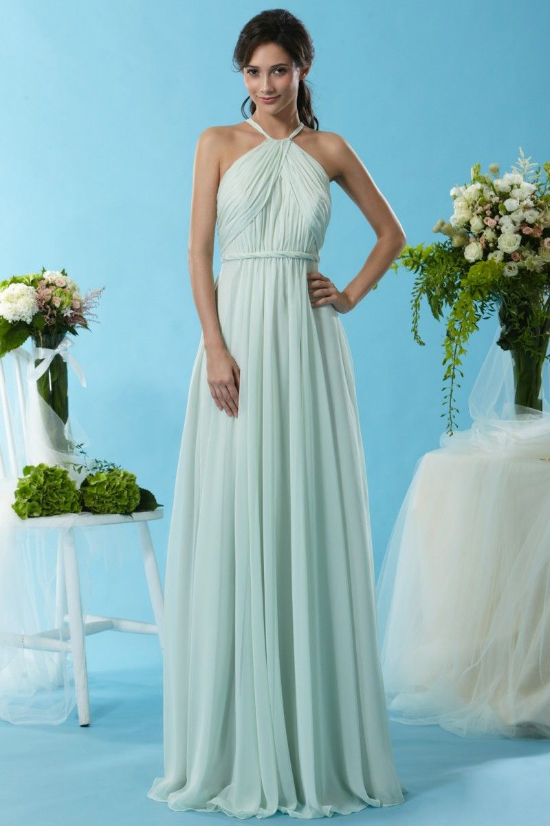 Eden Bridesmaids 7444 A Chiffon gown made with a halter top and ...