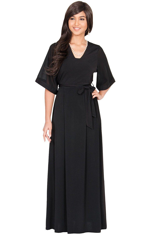 KOH KOH Womens Long V-Neck 3/4 Sleeve Flowy Short Sleeve Belt Gown ...