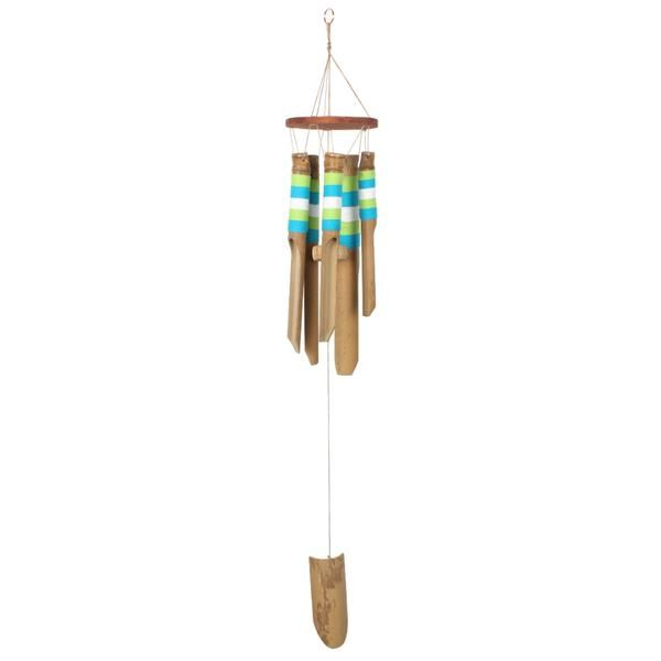 This bamboo windchime has a contemporary touch thanks to the eyecatching blue and white thread detailing. This windchime makes beautiful relaxing sounds in the breeze.