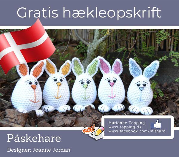 0324580548a Hækl påskeharen, dansk og gratis hækleopskrift fra Joanne Jordan - oversat  til dansk af Marianne