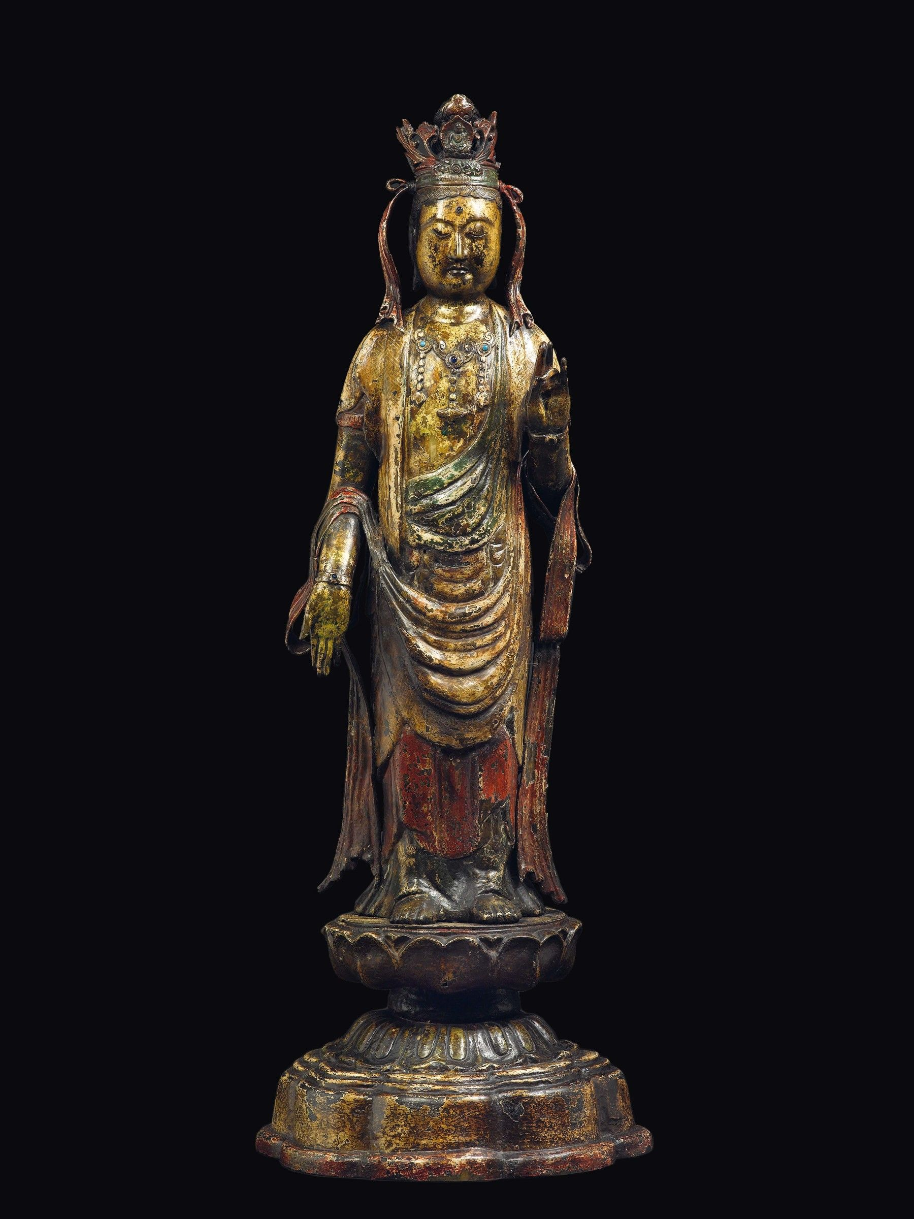 Lot A Cold Gilt Bronze Figure Of Standing Buddha On A Lotus Flower