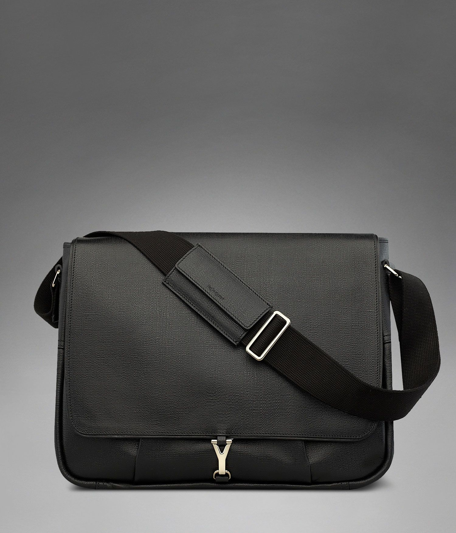 Yves Saint Laurent Large YSL Ycon Messenger Bag in Black Textured ...