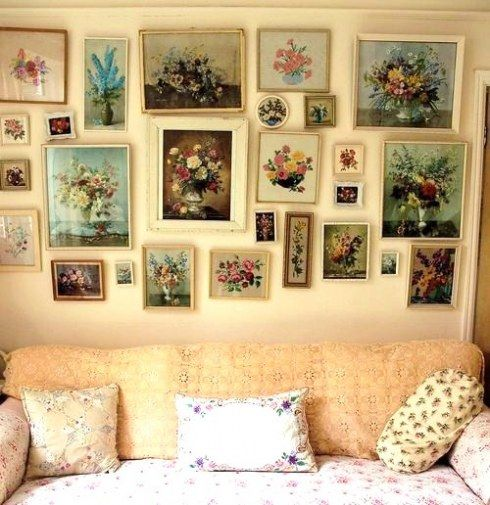 Granny chic floral wall art wanna try this one maybe this would work behind sofa