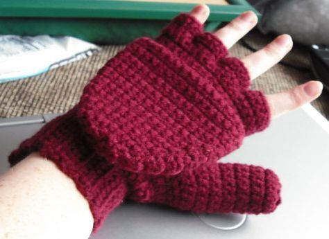 Crocheted Convertible Fingerless Mittens By Sue Norrad Free