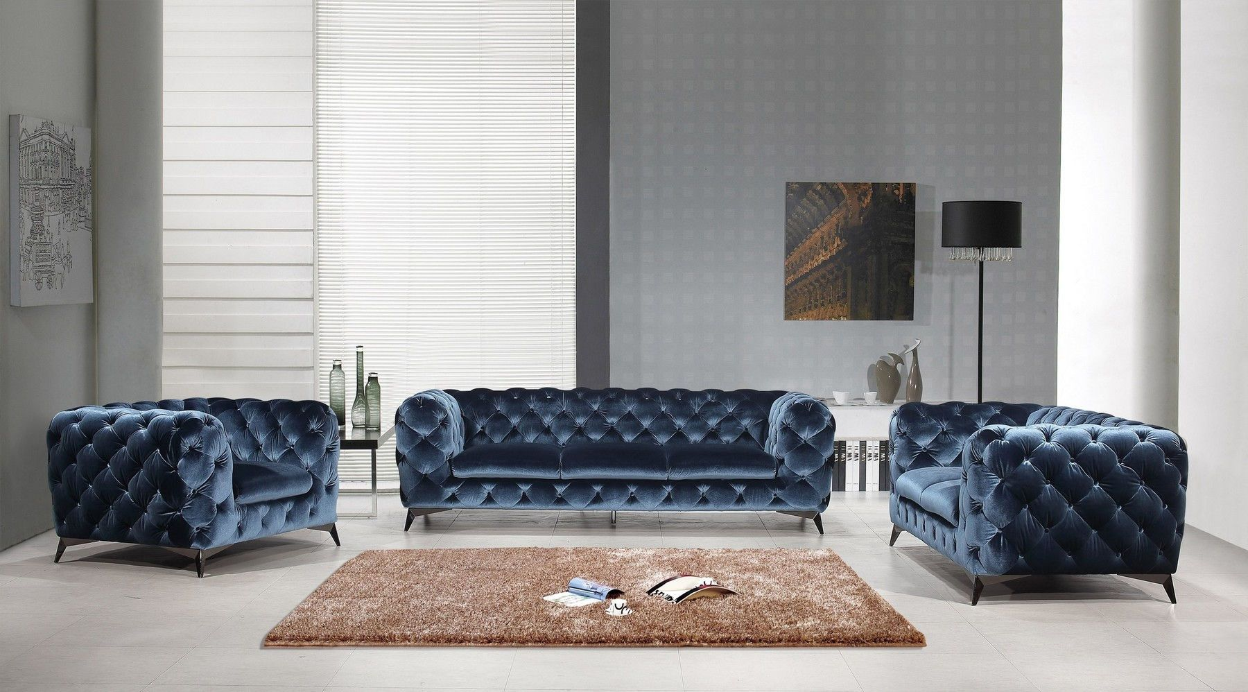 Glitz Blue Sofa Sofa Set 3 Piece Living Room Set Fabric Sofa
