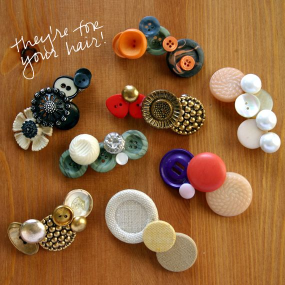 White and Navy Button Barrettes