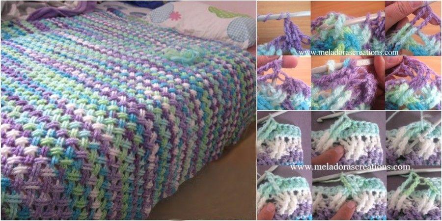Lindo Punto Entrecruzado en Crochet para hacer una hermosa manta, el ...