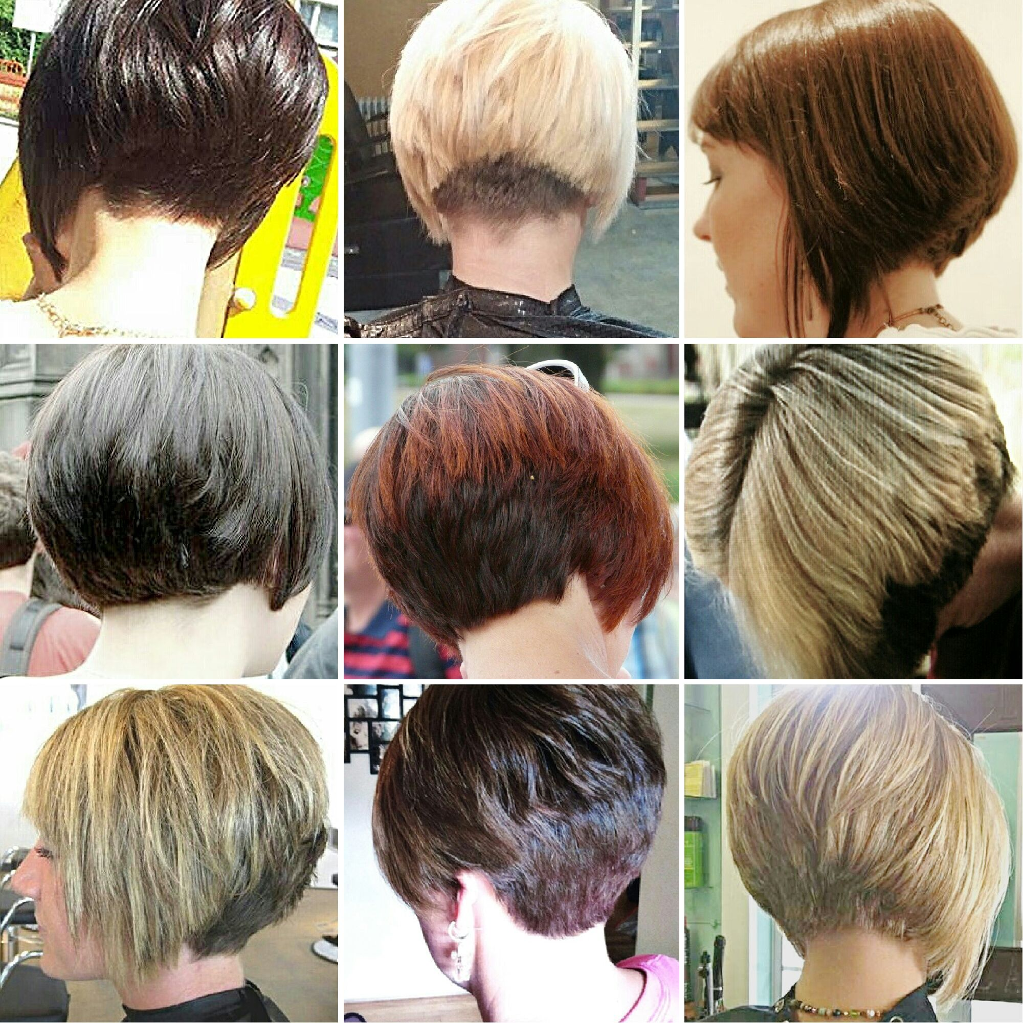 another collage of short/bobbed hairstyles with stacked or buzzed