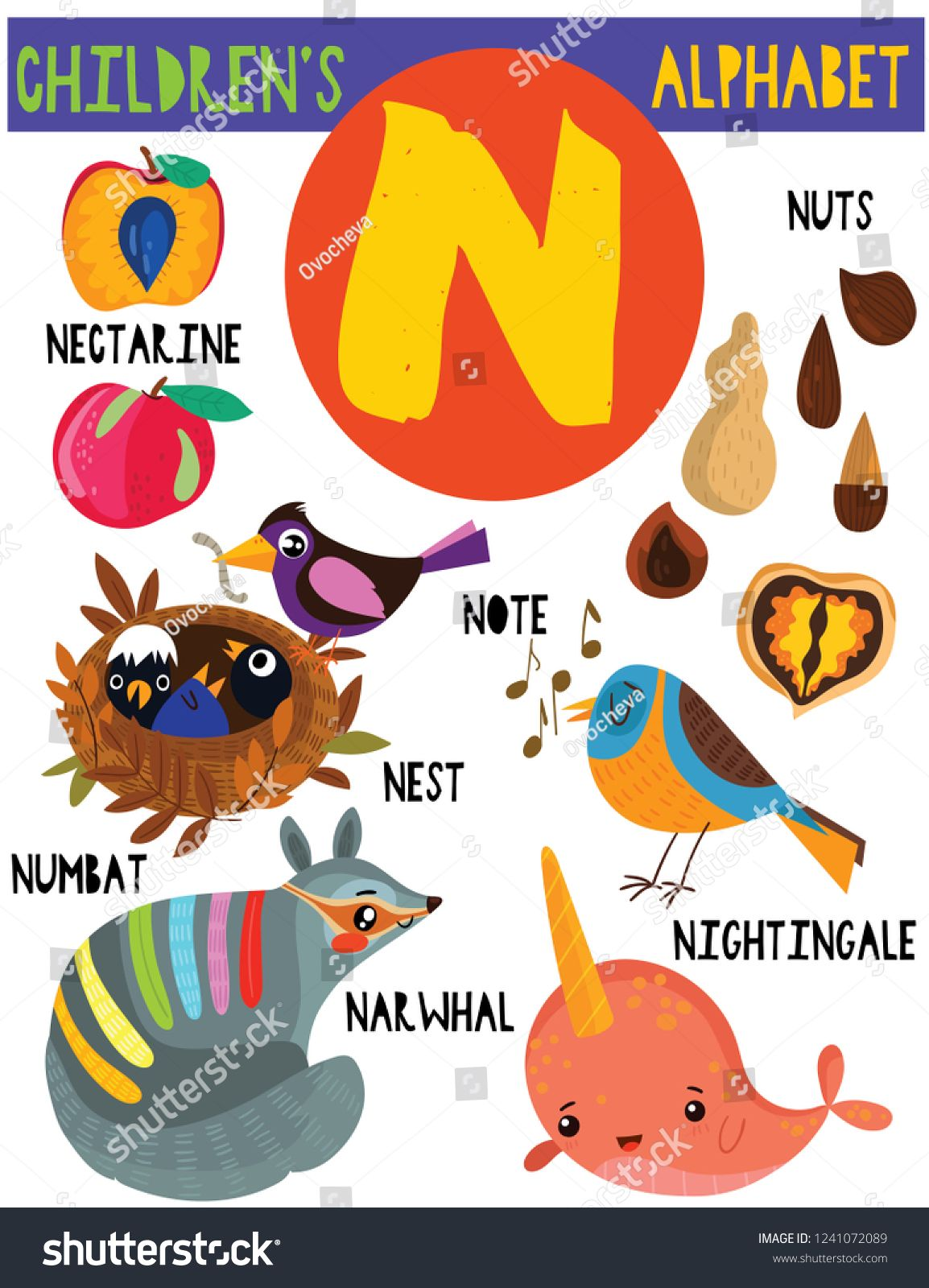 Letter N Cute Children S Alphabet With Adorable Animals And Other Things Poster For Kids Learning English Vocabu Childrens Alphabet Cute Animals Animal Posters