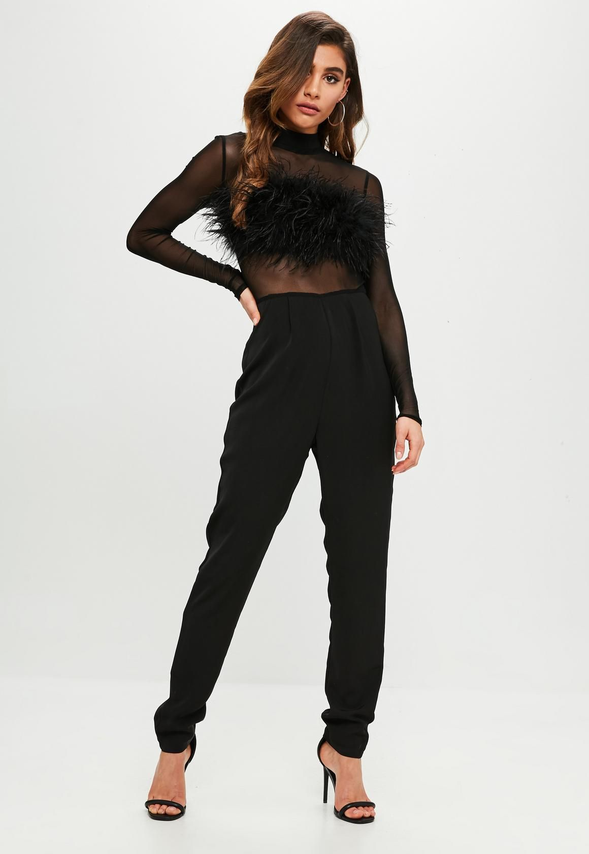 ac18962e66e3 Missguided - Black Feather Front Mesh Jumpsuit