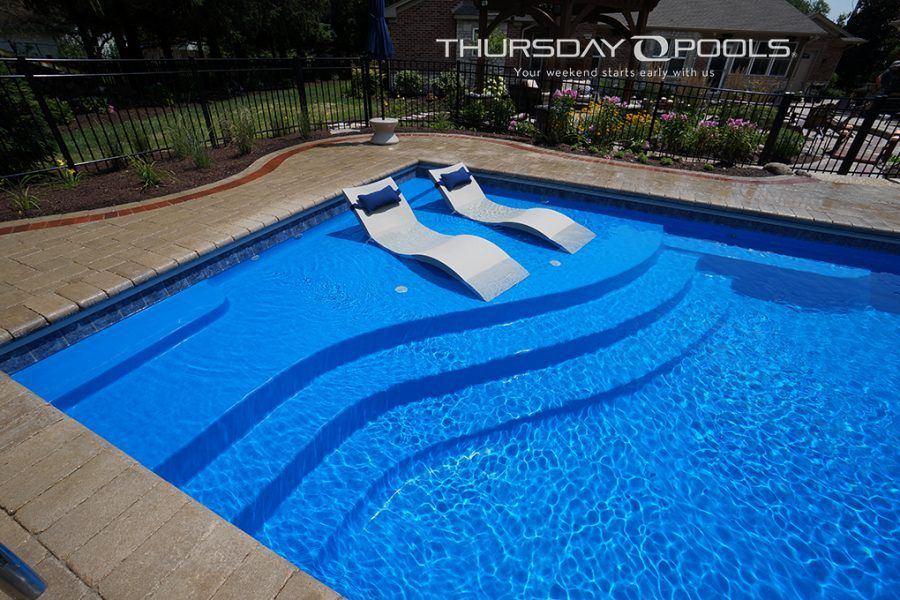 Aspen 16 x 40 5 39 10 depth thursday pools pool ideas for Pool design with tanning ledge