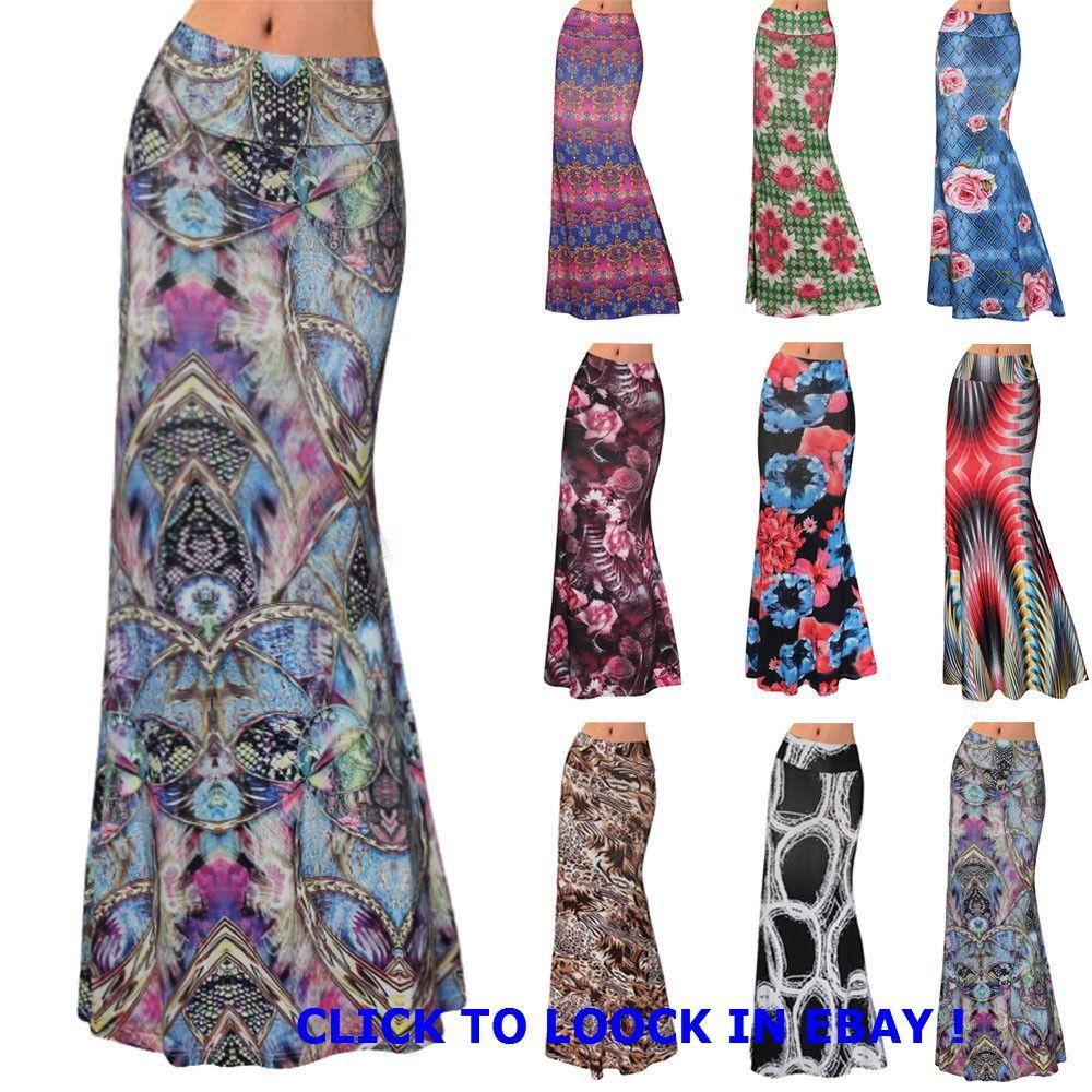 New Ladies Plain Stretch Elasticated Women/'s Full Length Long Gypsy Maxi Skirts.