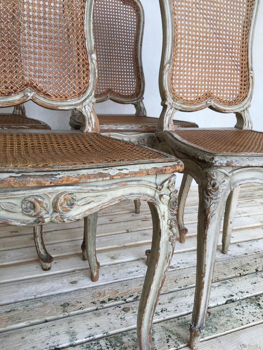 Suite De Quatre Chaises Cannees De Style Louis Xvi Antiquites