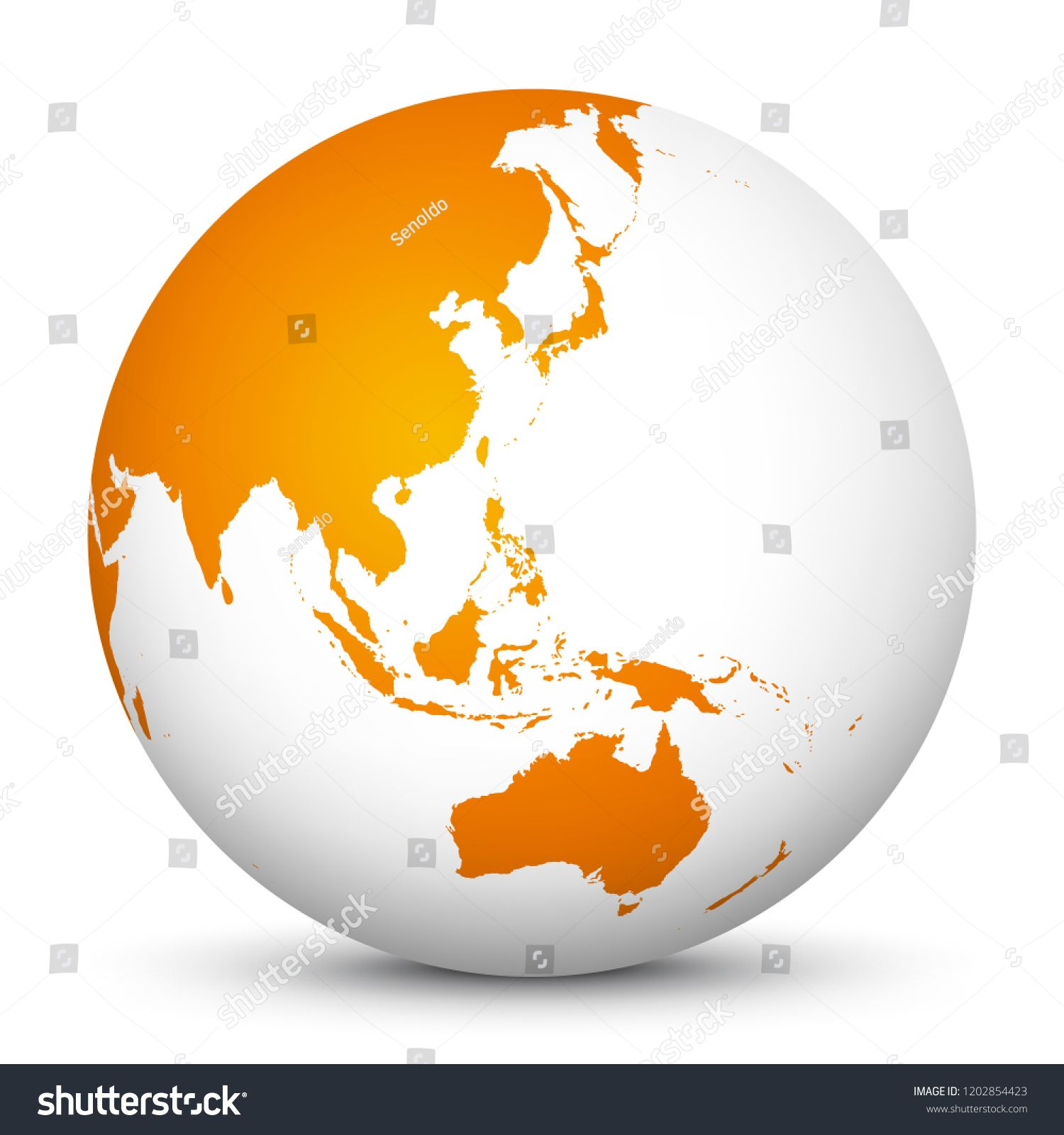 White 3D Globe Icon with Orange Continents  Planet Earth