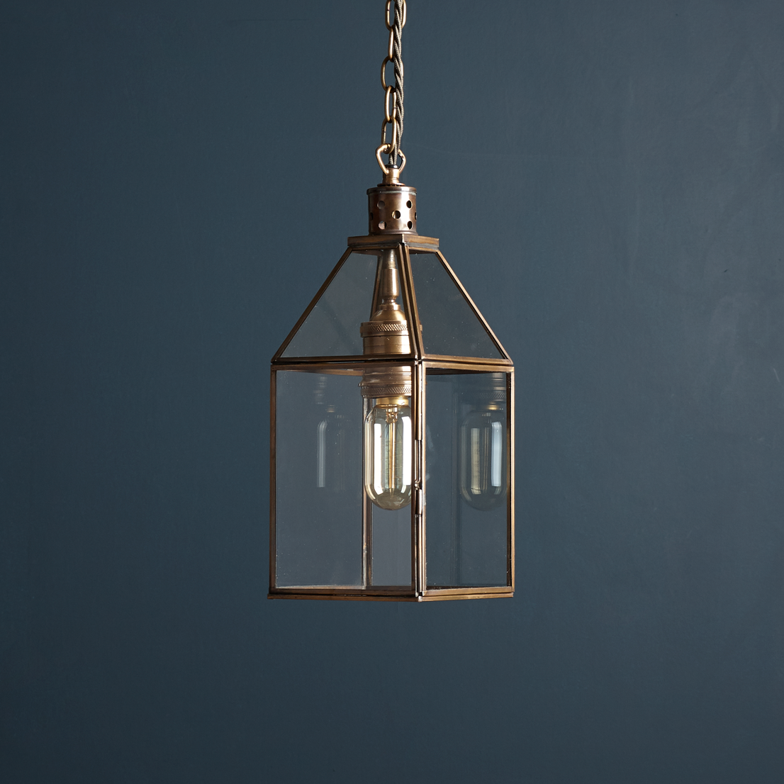 Very simple glass lantern pendant with antique brass framework ... - Lantern pendant