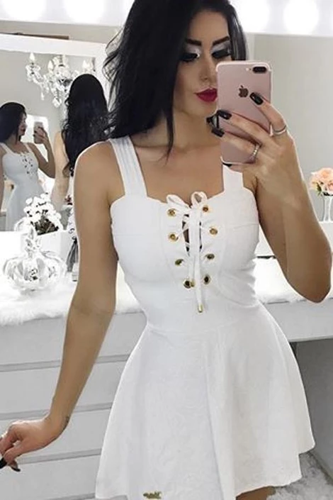 White Satin Short Prom Dress,A-Line Square Homecoming ...