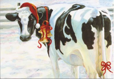 Christmas Cow.Christmas Cow Our Cows Christmas Animals Cow Painting