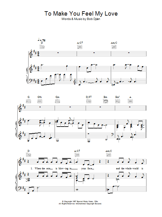 To Make You Feel My Love Sheet Music Direct For Anniversary