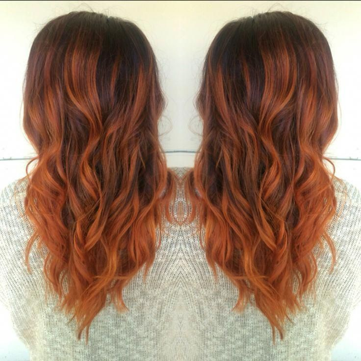 Copper balayage! Hair by Allison Varela #redombre #copperbalayage
