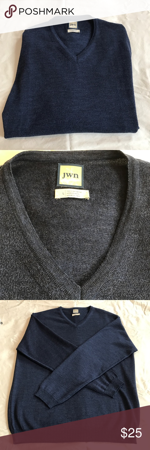 Men's pullover sweater JWN Nordstrom men's v neck sweater light in weight 100% extra fine merino wool made in Italy great buy like new John W. Nordstrom Sweaters V-Neck