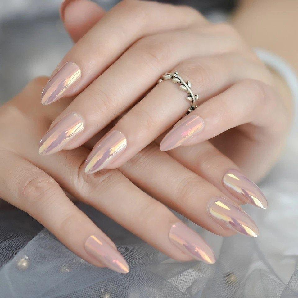 Chameleon Mirror Nude Stiletto False Nails 24pcs Amlond Sharp | Etsy