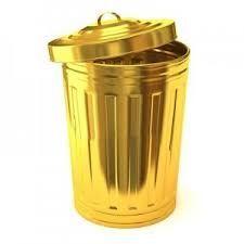 Golden trash can