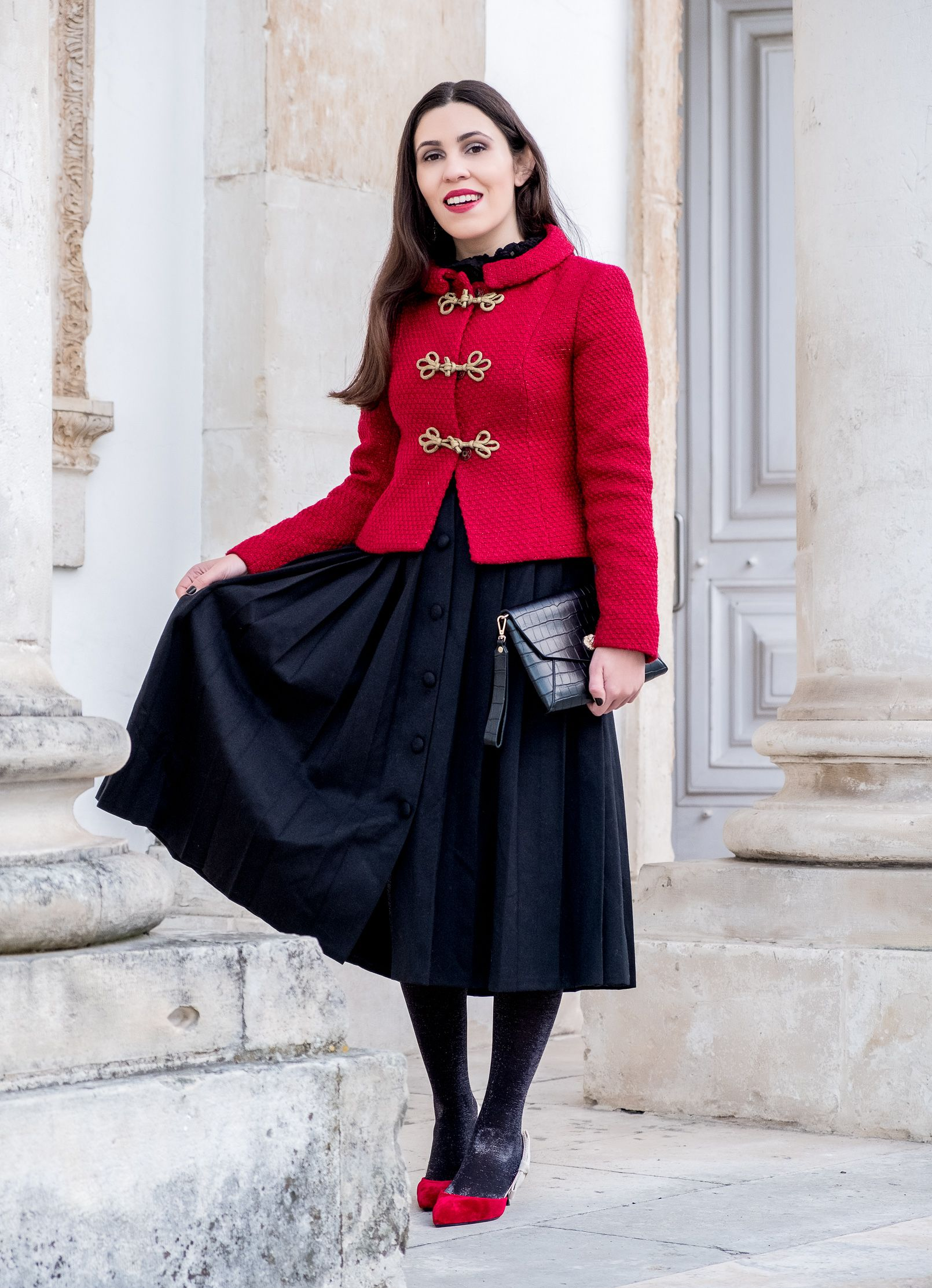 4fdc5d6336 Christmas classic outfit - #buttons #Christmas #Classic #clutch #Croco  #Dior #frontbuttons #Gold #inspired #Jacket #Lanidor #Mango #midiskirt  #Military #old ...
