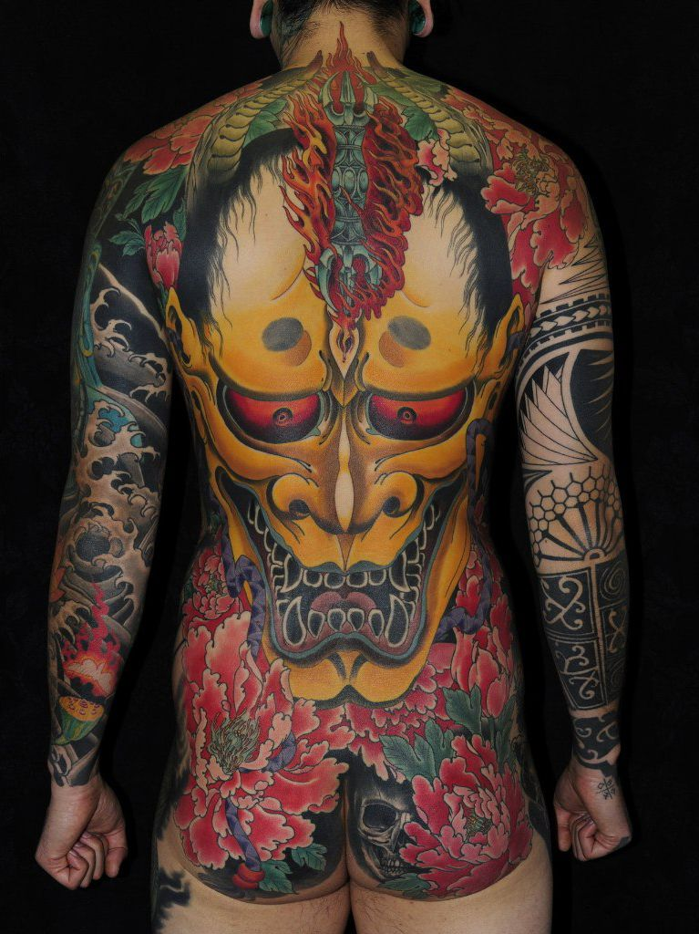Maori Body Art: Maori Sleeve Mixed With Hannya Mask Japanese Tattoo