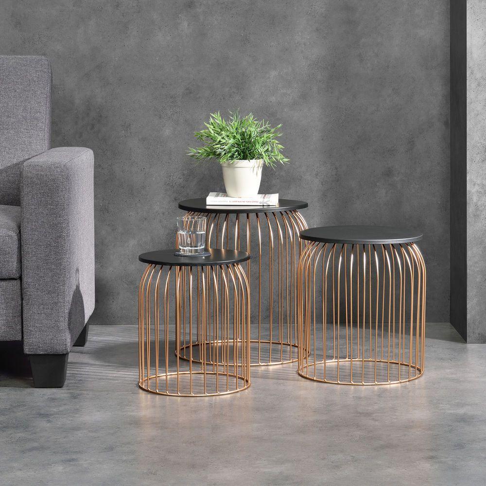 En Casa Set Of 3 Metal Basket Side Table Wire Base Coffee Table Nesting Copper Coffee Table Wire Coffee Table Living Room Coffee Table [ 1000 x 1000 Pixel ]