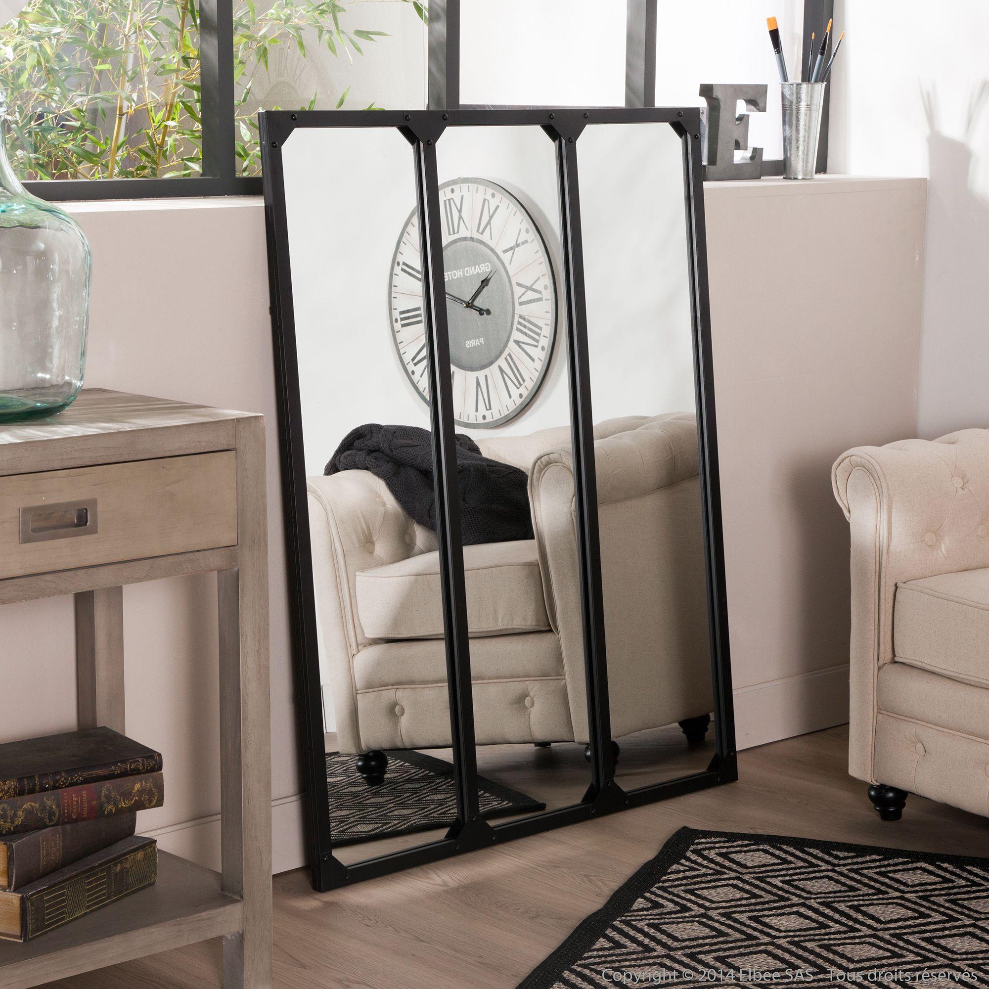 Miroir fen tre tryptique en m tal rectangulaire 120x95cm - Hauteur d un miroir de salle de bain ...