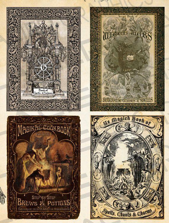 Halloween bruja hechizo libro cubiertas por SouthPrairieHandmade ...