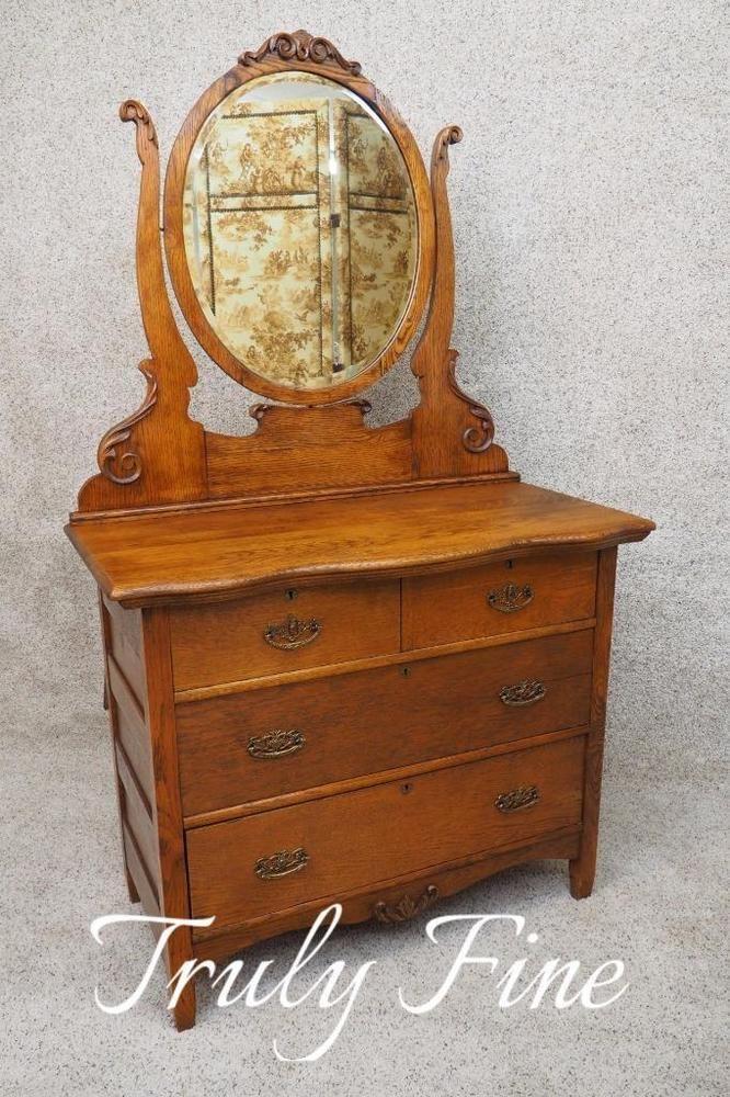 Victorian Era Antique Oak Dresser Rare Oval Mirror Chest Of Drawers Bureau Mirrored Chest Oak Dresser Oval Mirror