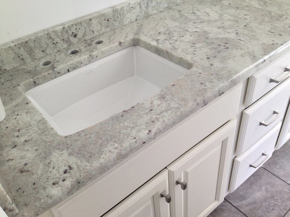 Website Picture Gallery  Andromeda White granite vanity top on a Medallion Columbia Divinity White vanity with a