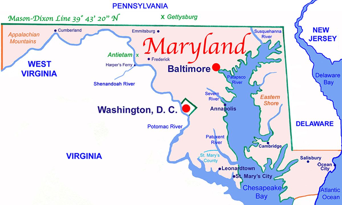 Maryland State Map after the 17631767 MasonDixon Line 233 miles