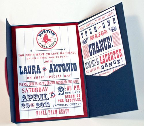 Baseball Themed Wedding Invitations Red Sox Inspired Invitation 4 75 Via Etsy