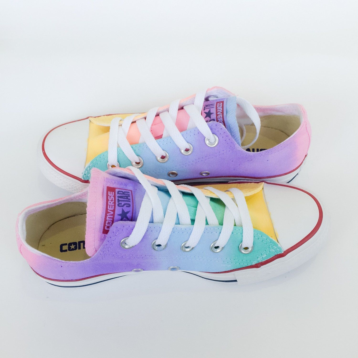 09c7e8f08143 The softer side of the rainbow is here in the pastel tie dyed low top  Converse! A unique hand painted pastel rainbow tie dye ombré color blend