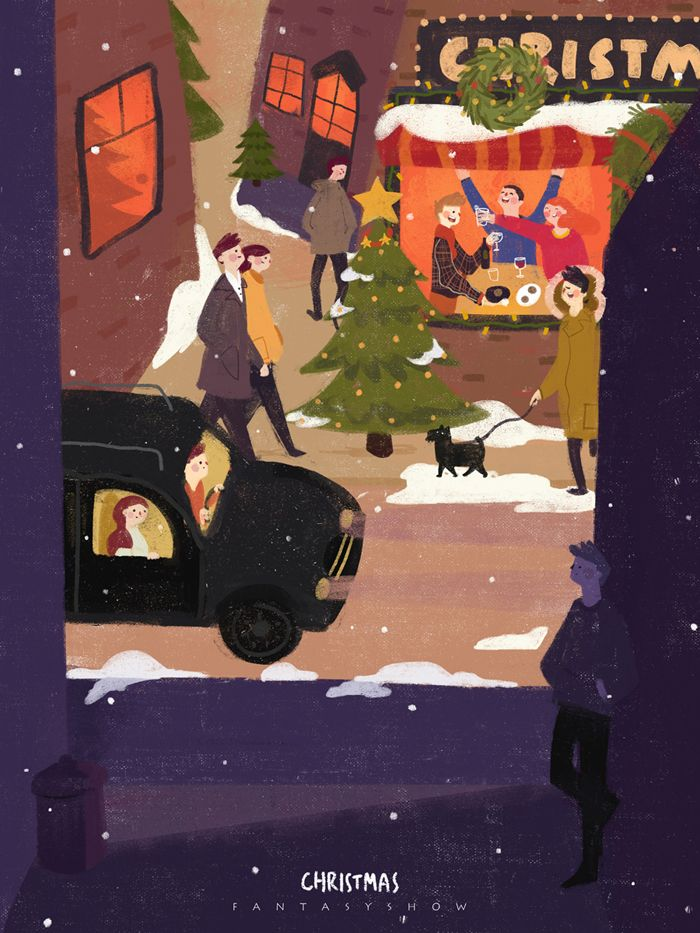 """다음 @Behance 프로젝트 확인: """"Alone time-Christmas"""" https://www.behance.net/gallery/32343181/Alone-time-Christmas"""